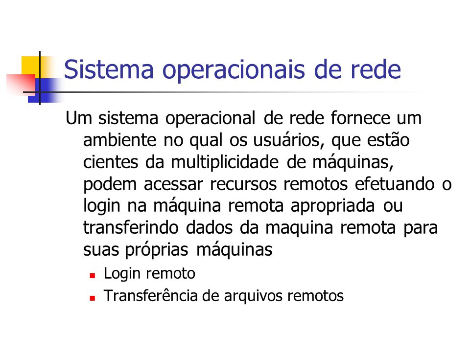 Sistema operacionais de rede