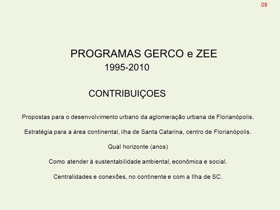 PROGRAMAS GERCO e ZEE 1995-2010 CONTRIBUIÇOES