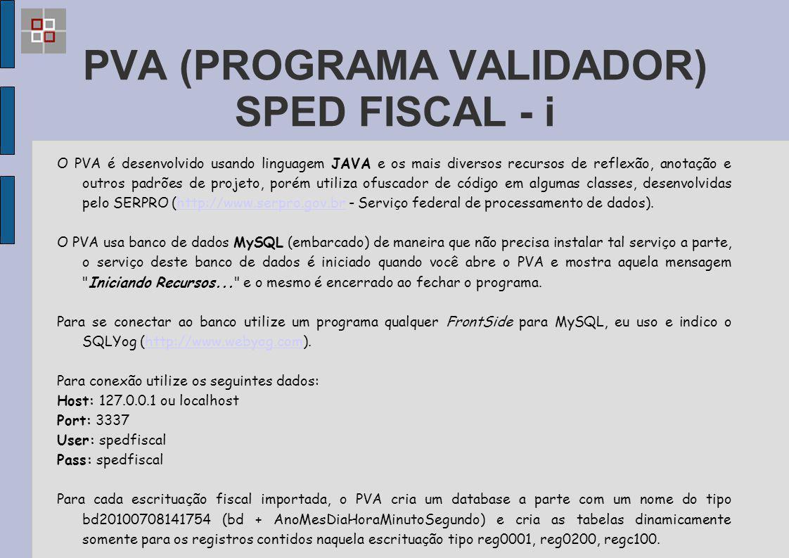 PVA (PROGRAMA VALIDADOR) SPED FISCAL - i