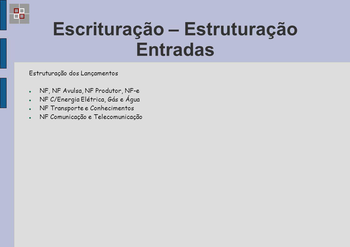 Escrituração – Estruturação Entradas