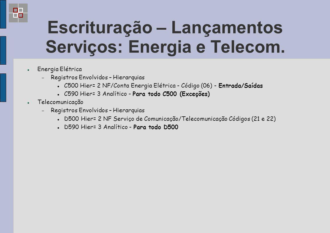 Escrituração – Lançamentos Serviços: Energia e Telecom.