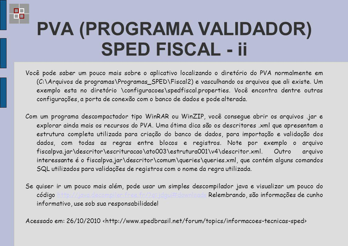 PVA (PROGRAMA VALIDADOR) SPED FISCAL - ii