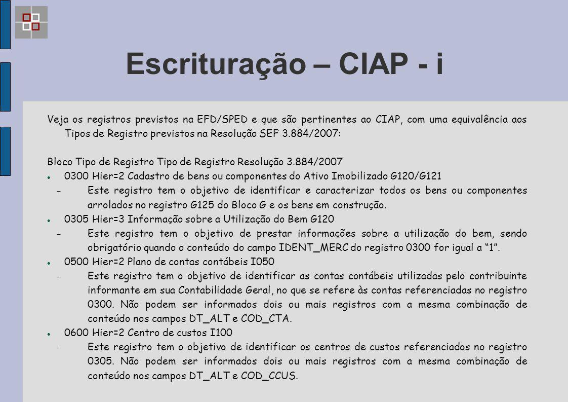 Escrituração – CIAP - i
