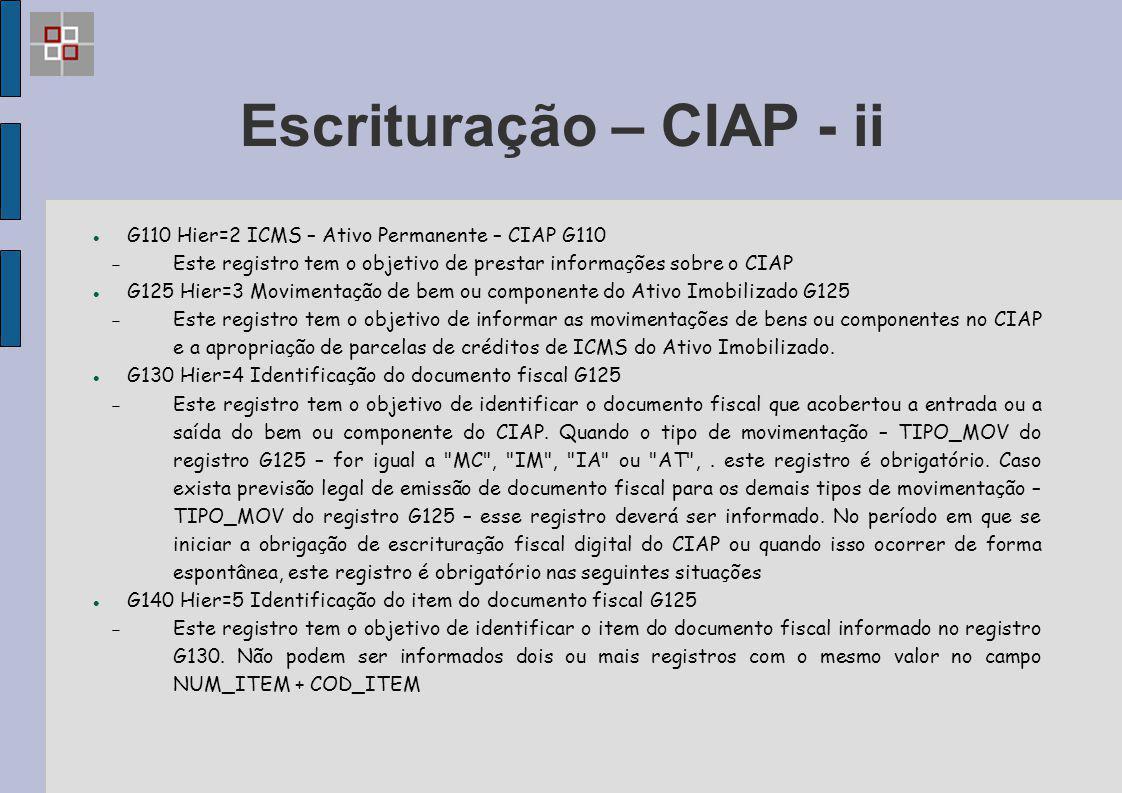 Escrituração – CIAP - ii