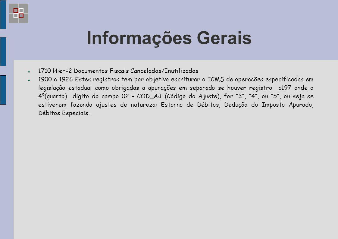 Informações Gerais 1710 Hier=2 Documentos Fiscais Cancelados/Inutilizados.