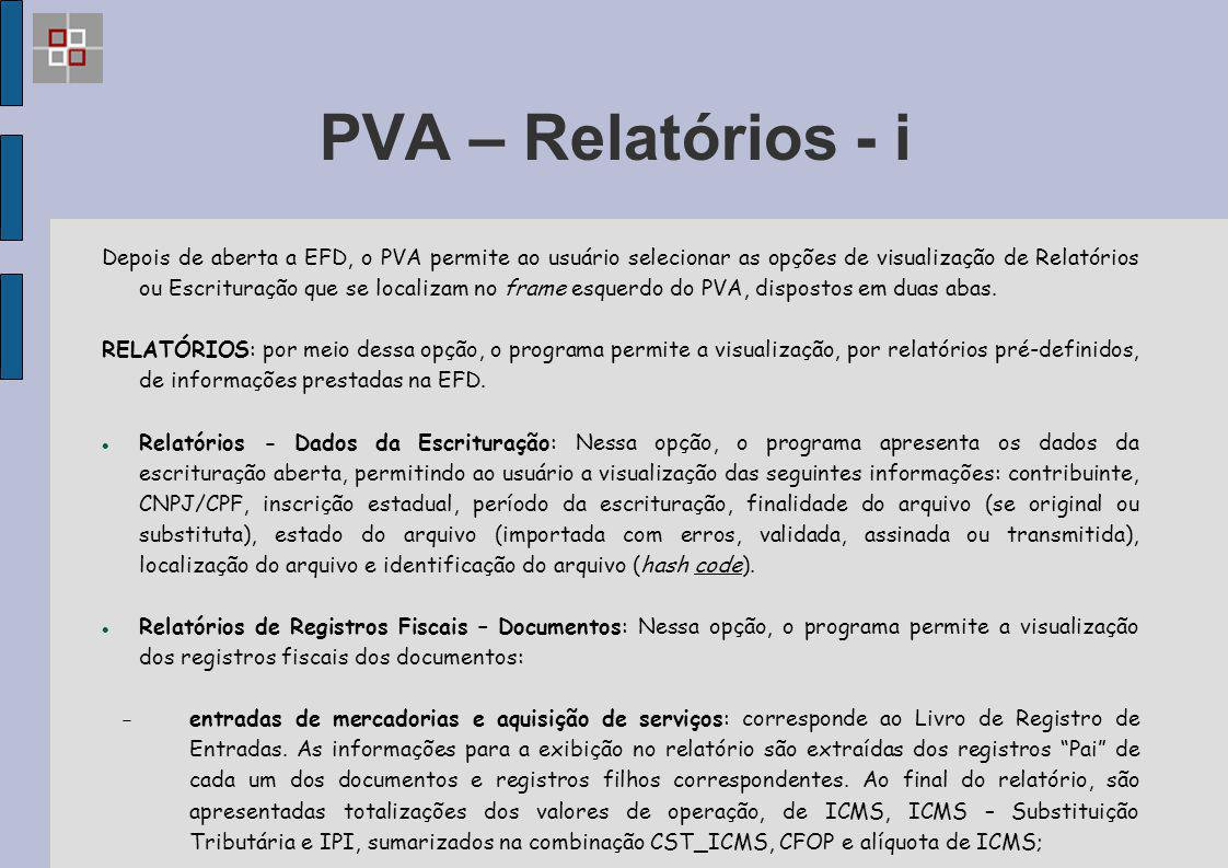PVA – Relatórios - i