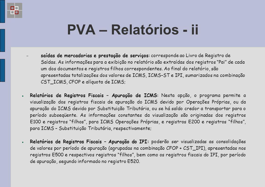 PVA – Relatórios - ii