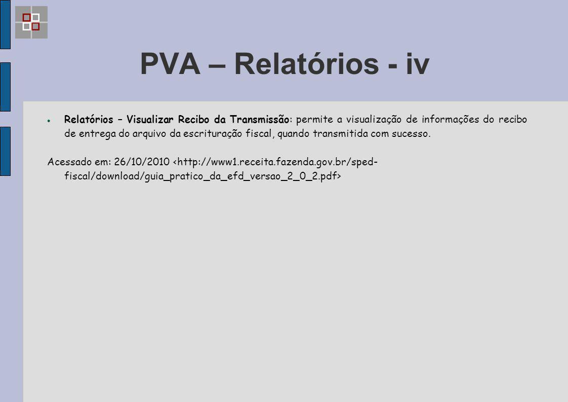 PVA – Relatórios - iv