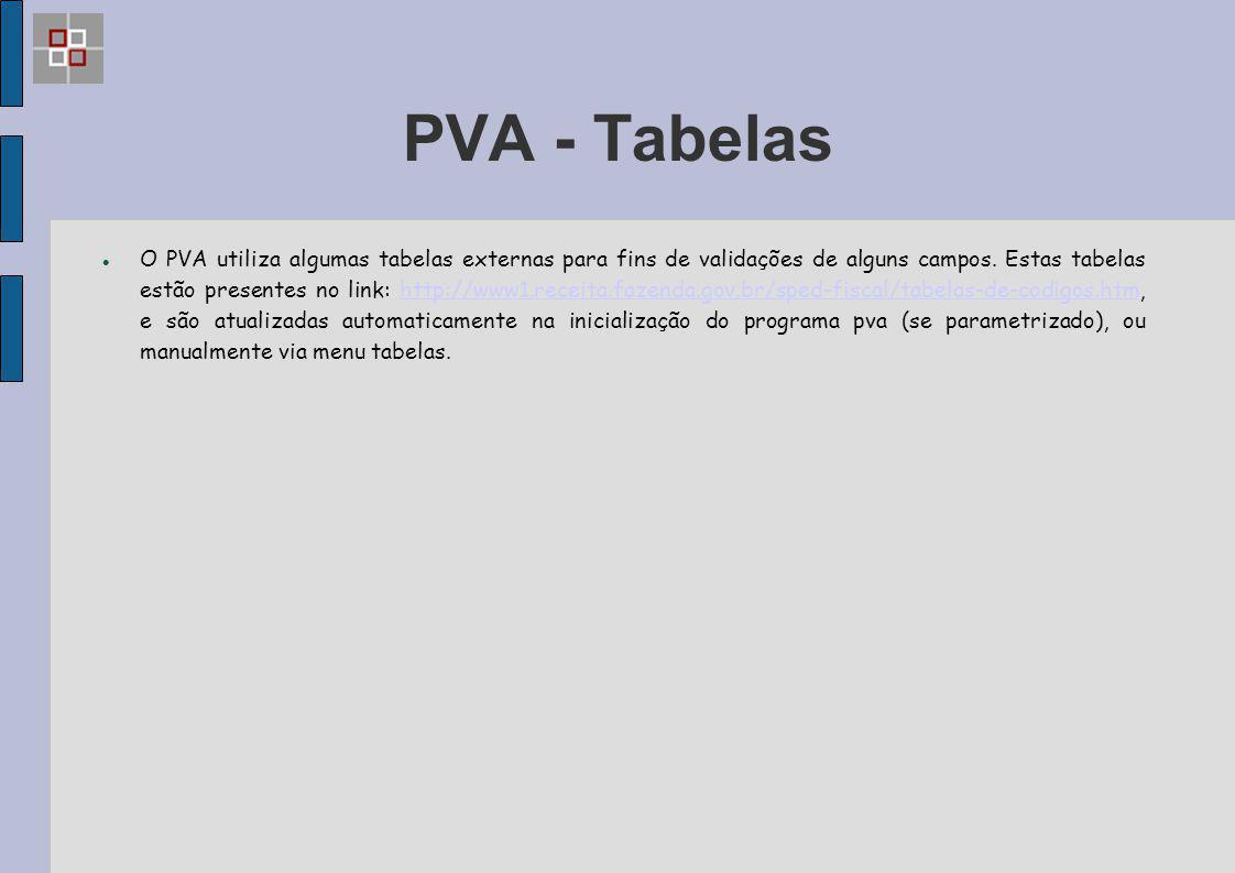 PVA - Tabelas