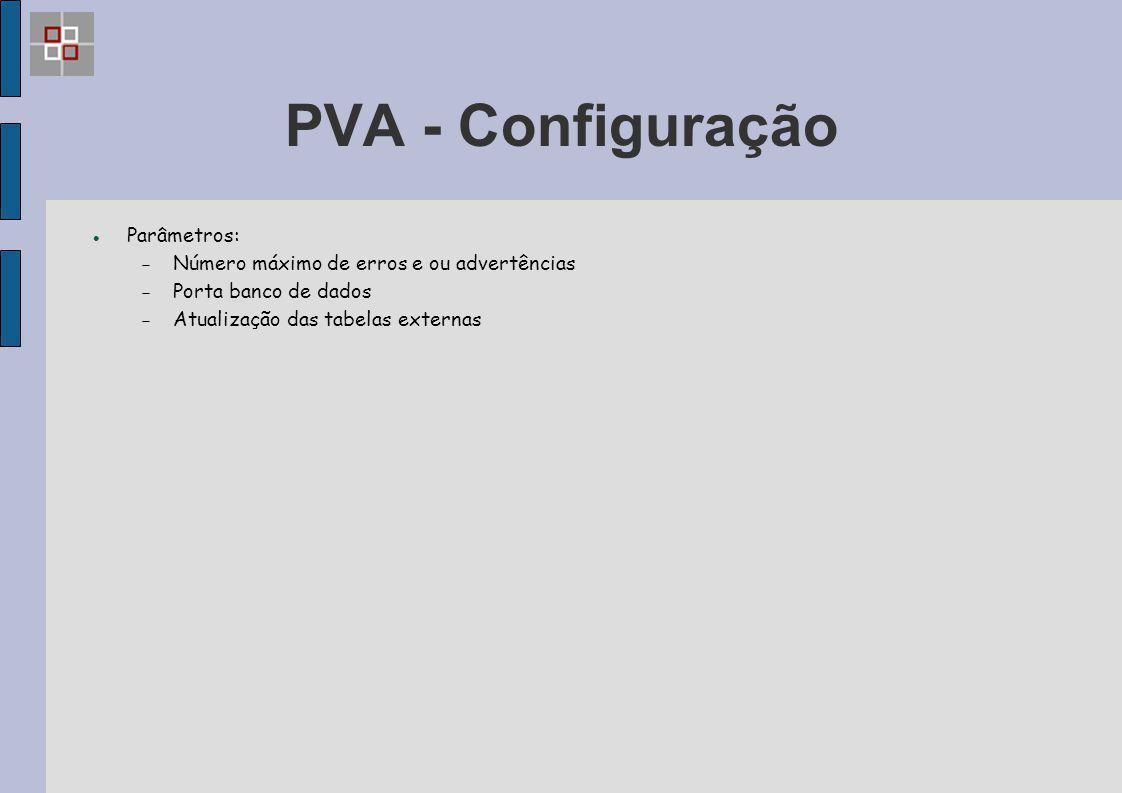 PVA - Configuração Parâmetros:
