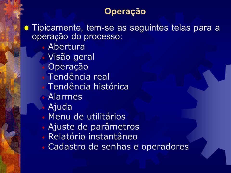Tipicamente, tem-se as seguintes telas para a operação do processo:
