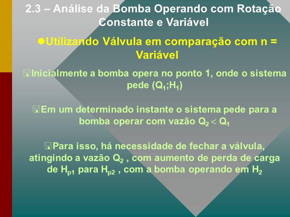 2.3 – Análise da Bomba Operando com Rotação Constante e Variável