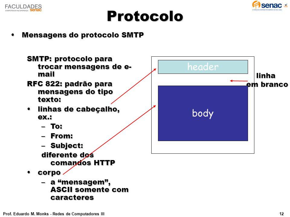 Protocolo header body Mensagens do protocolo SMTP