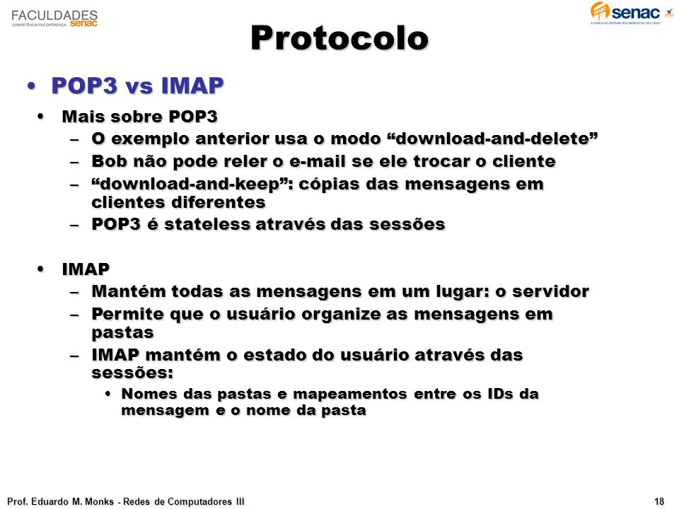 Protocolo POP3 vs IMAP Mais sobre POP3