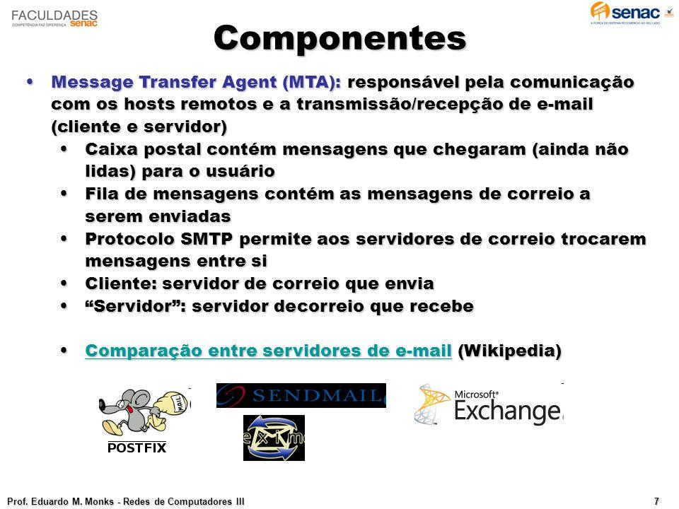 Componentes Message Transfer Agent (MTA): responsável pela comunicação com os hosts remotos e a transmissão/recepção de e-mail (cliente e servidor)