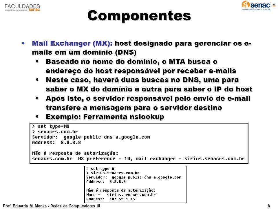 Componentes Mail Exchanger (MX): host designado para gerenciar os e-mails em um domínio (DNS)