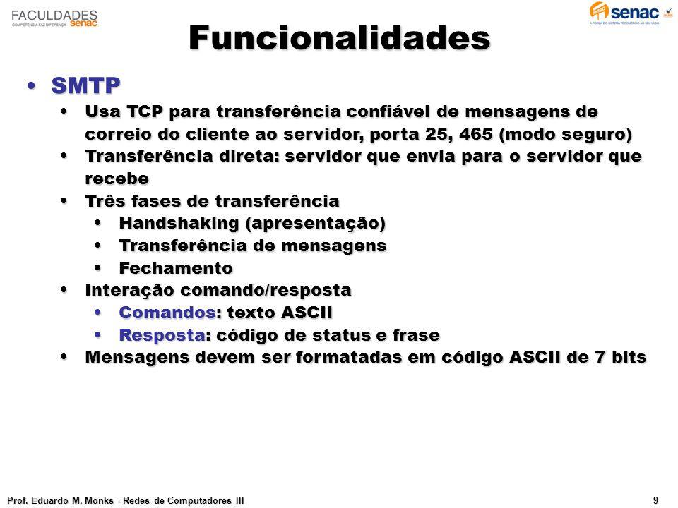 Funcionalidades SMTP. Usa TCP para transferência confiável de mensagens de correio do cliente ao servidor, porta 25, 465 (modo seguro)
