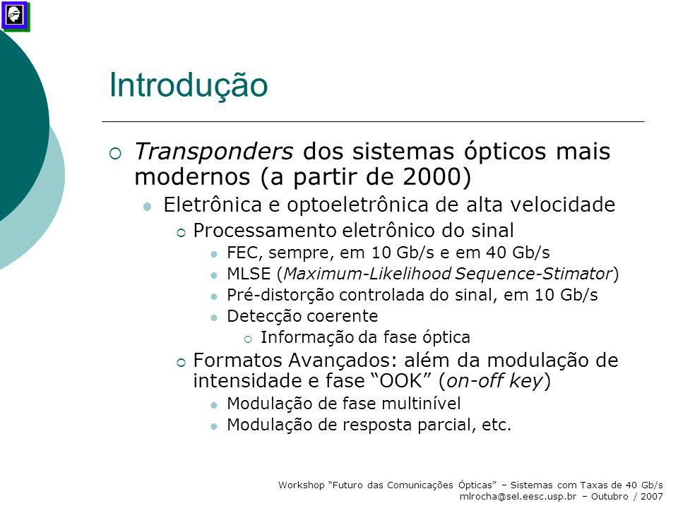 Introdução Transponders dos sistemas ópticos mais modernos (a partir de 2000) Eletrônica e optoeletrônica de alta velocidade.