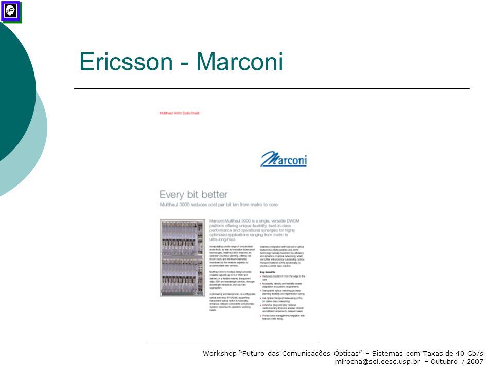 Ericsson - Marconi Workshop Futuro das Comunicações Ópticas – Sistemas com Taxas de 40 Gb/s mlrocha@sel.eesc.usp.br – Outubro / 2007.