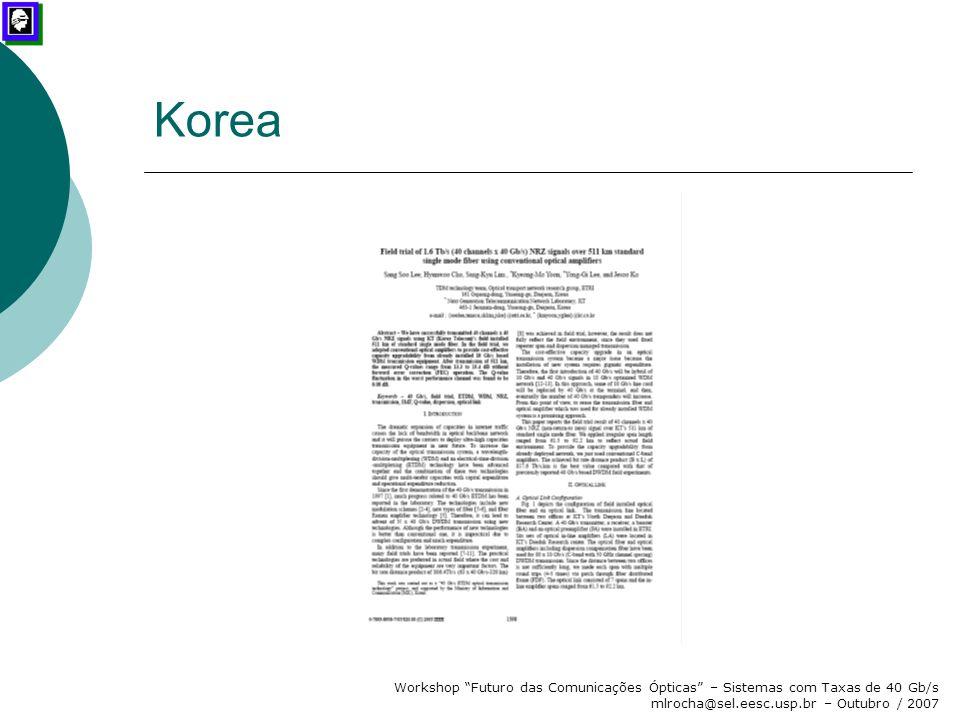 Korea Workshop Futuro das Comunicações Ópticas – Sistemas com Taxas de 40 Gb/s mlrocha@sel.eesc.usp.br – Outubro / 2007.