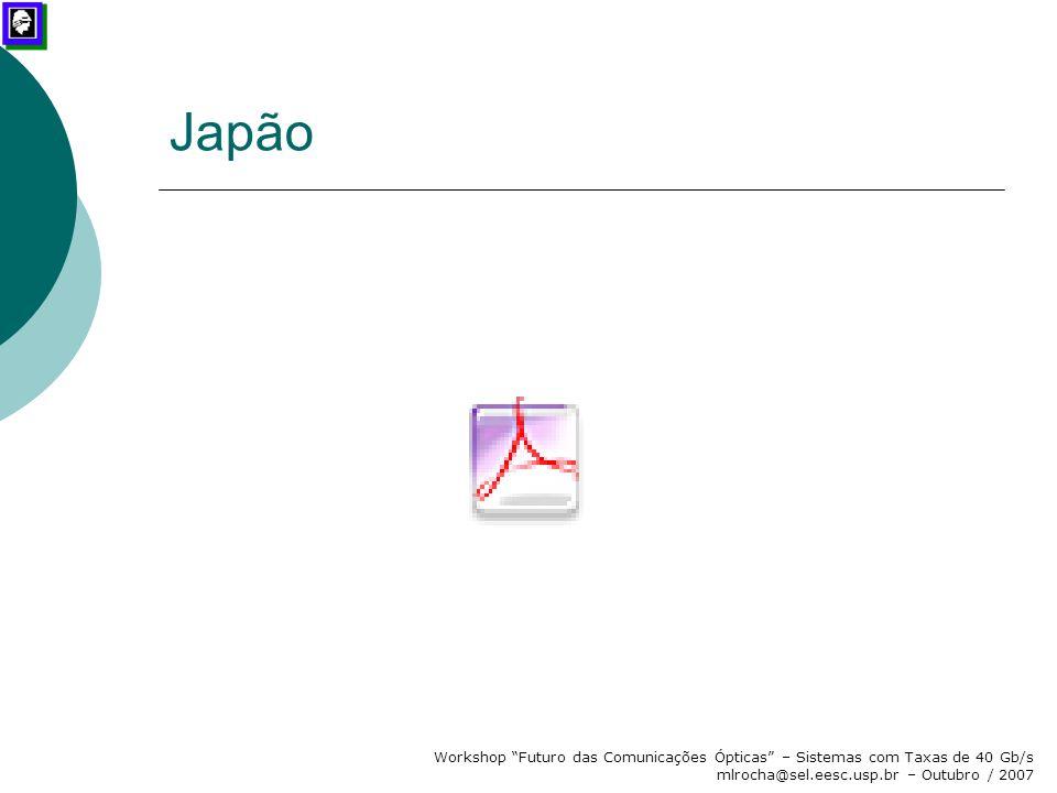 Japão Workshop Futuro das Comunicações Ópticas – Sistemas com Taxas de 40 Gb/s mlrocha@sel.eesc.usp.br – Outubro / 2007.