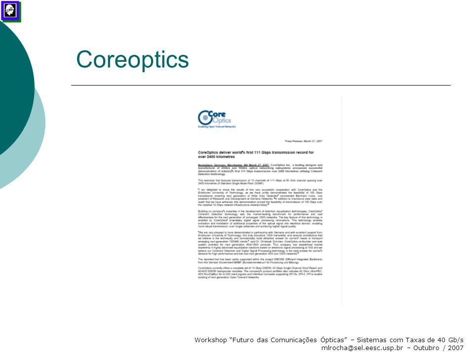 Coreoptics Workshop Futuro das Comunicações Ópticas – Sistemas com Taxas de 40 Gb/s mlrocha@sel.eesc.usp.br – Outubro / 2007.