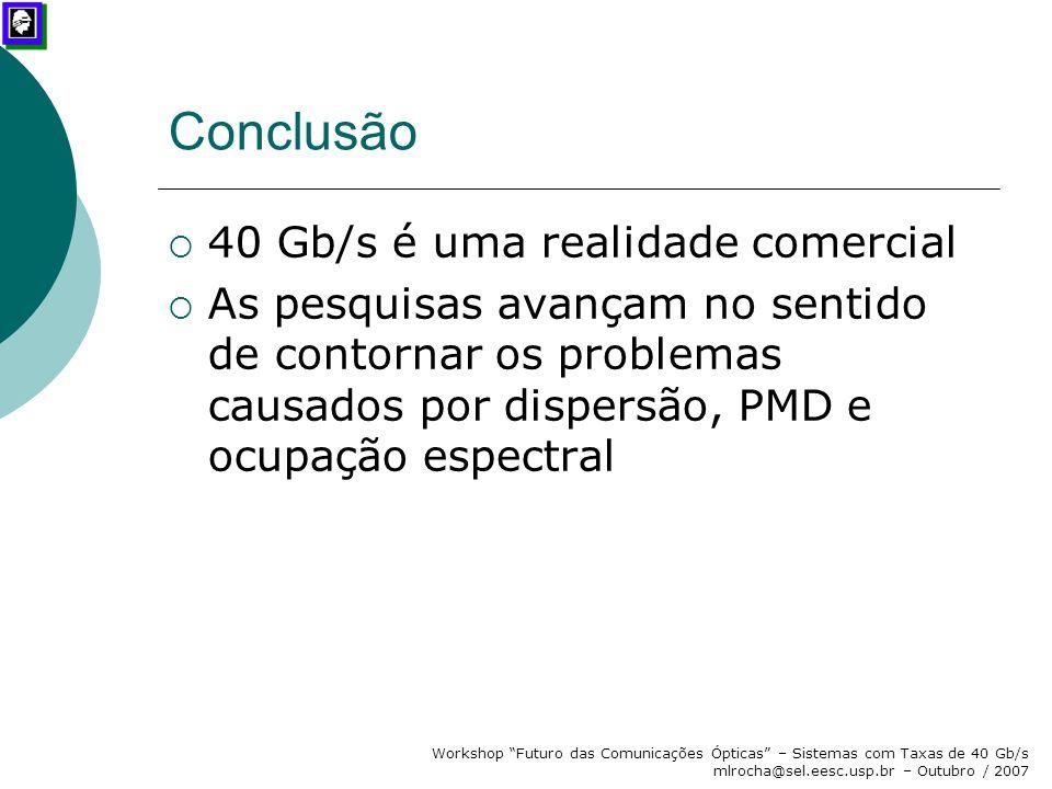 Conclusão 40 Gb/s é uma realidade comercial