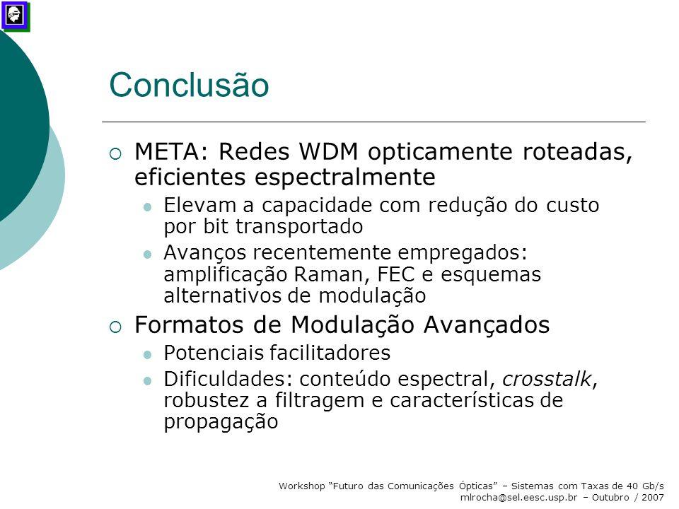 Conclusão META: Redes WDM opticamente roteadas, eficientes espectralmente. Elevam a capacidade com redução do custo por bit transportado.