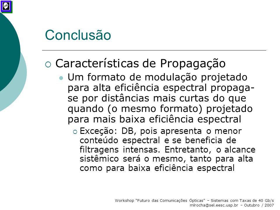 Conclusão Características de Propagação