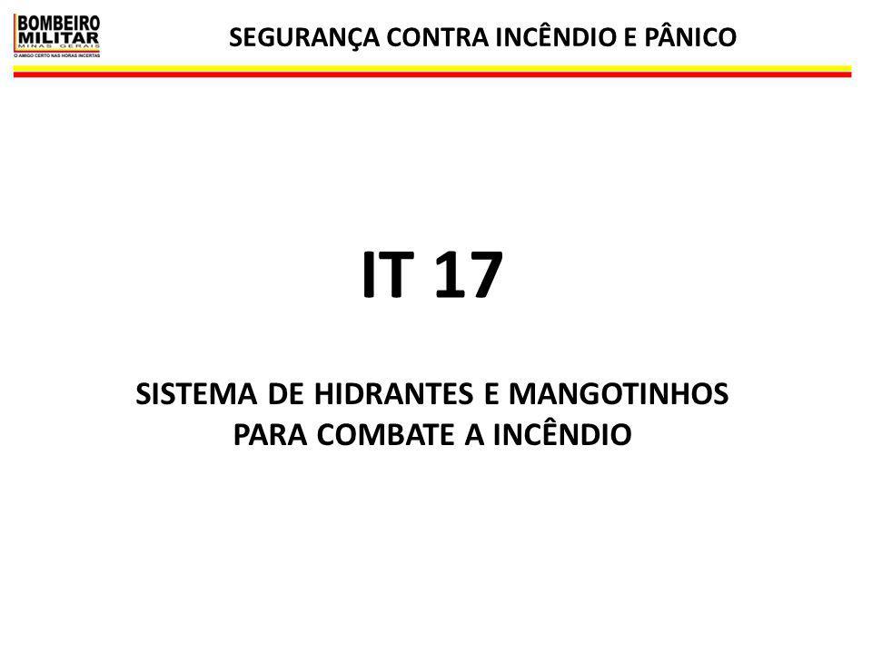 IT 17 SISTEMA DE HIDRANTES E MANGOTINHOS PARA COMBATE A INCÊNDIO