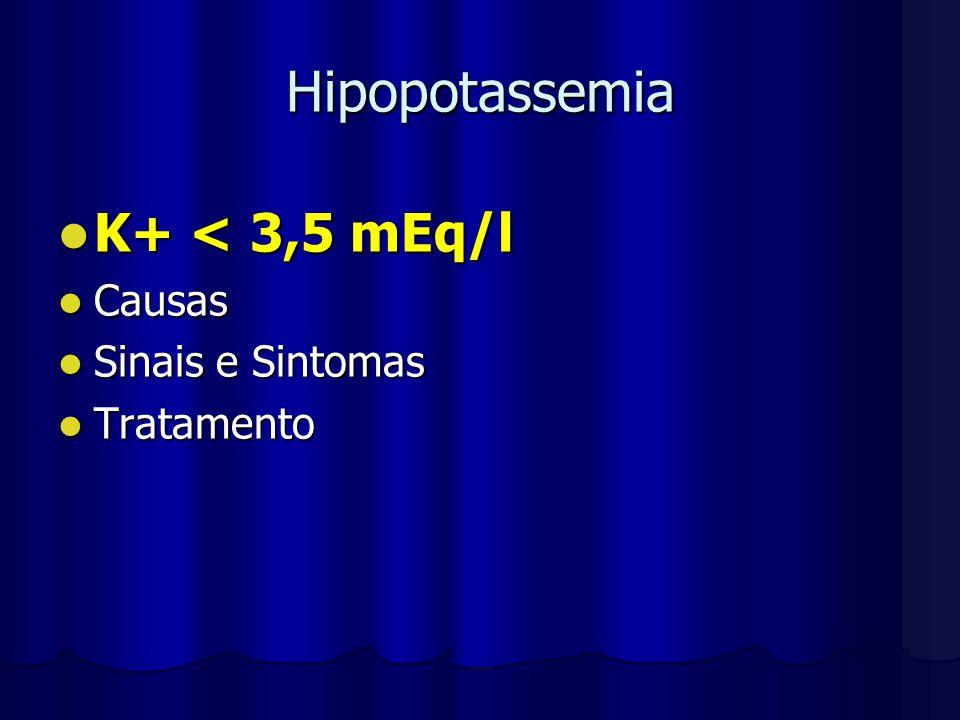 Hipopotassemia K+ < 3,5 mEq/l Causas Sinais e Sintomas Tratamento