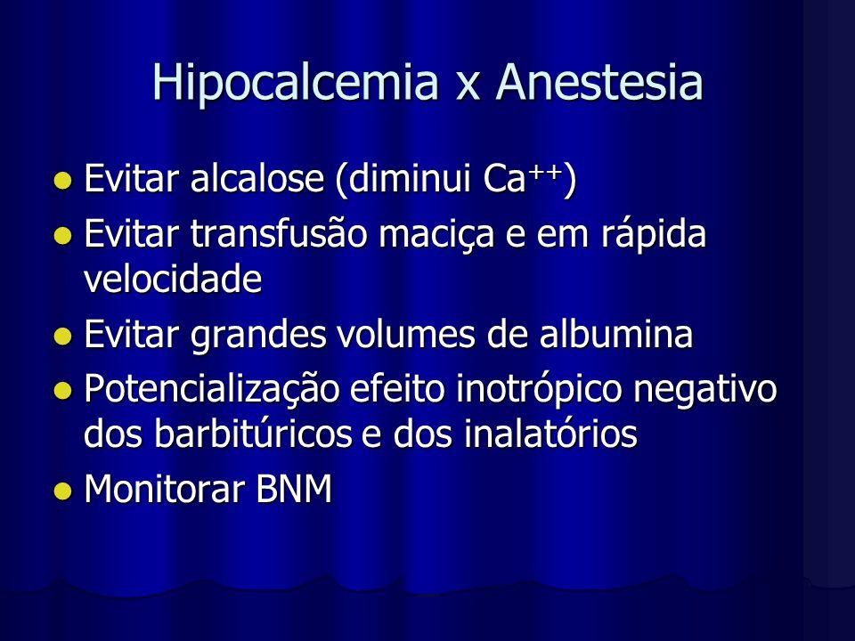 Hipocalcemia x Anestesia