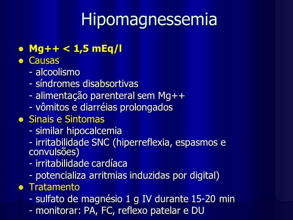 Hipomagnessemia Mg++ < 1,5 mEq/l Causas - alcoolismo