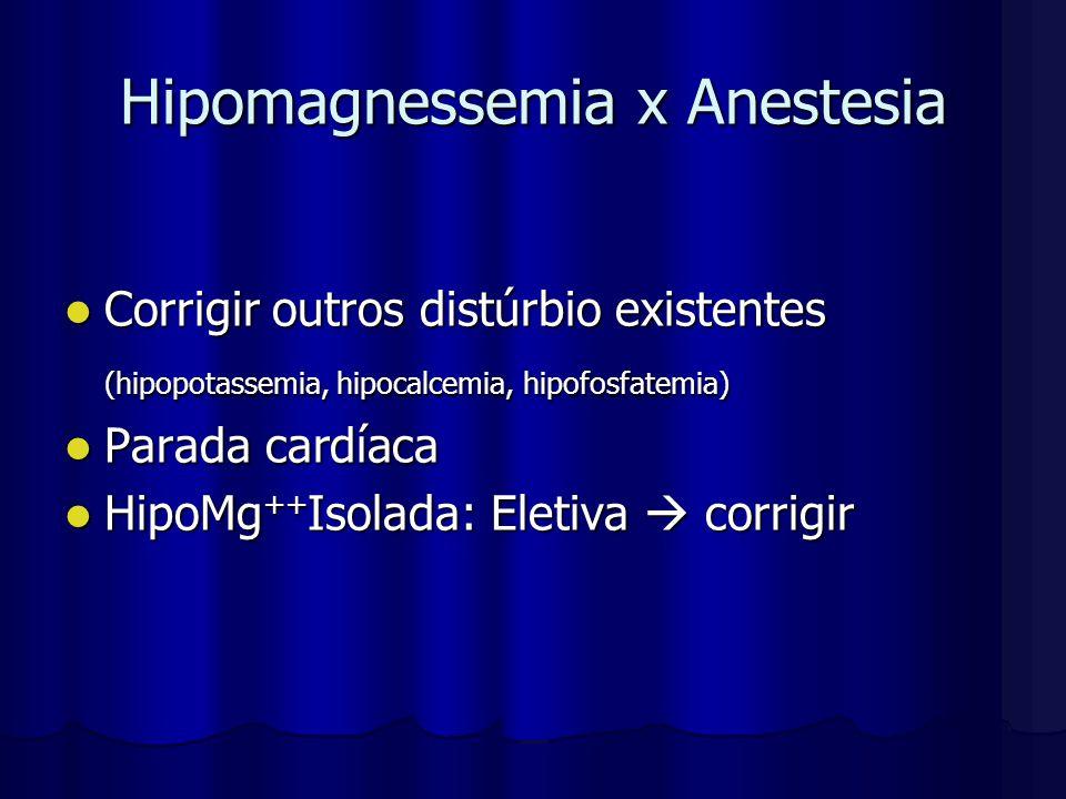 Hipomagnessemia x Anestesia