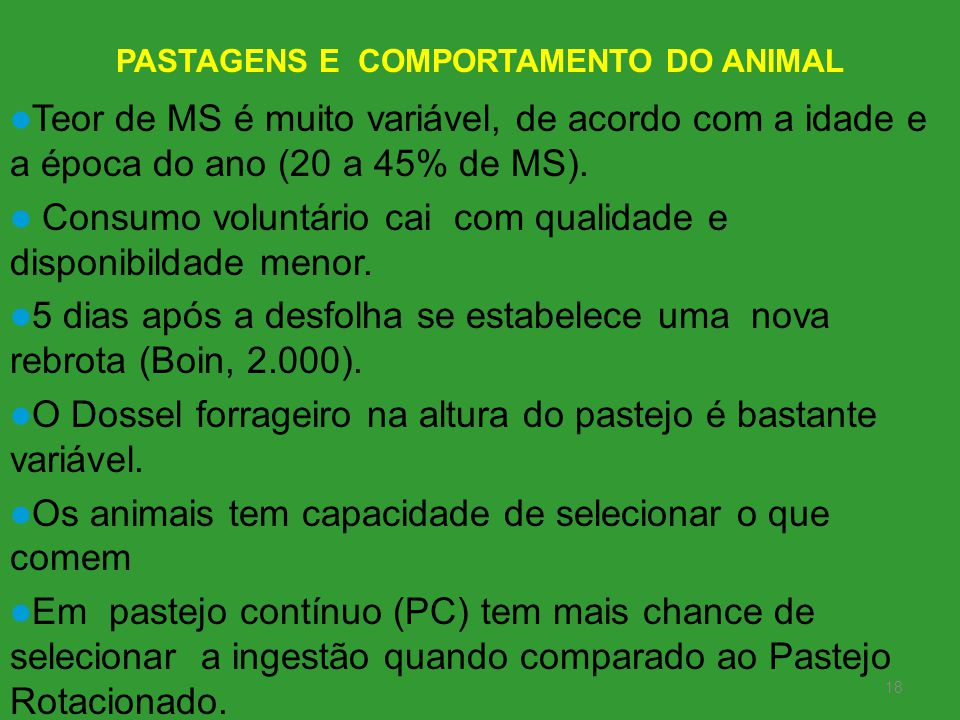 PASTAGENS E COMPORTAMENTO DO ANIMAL