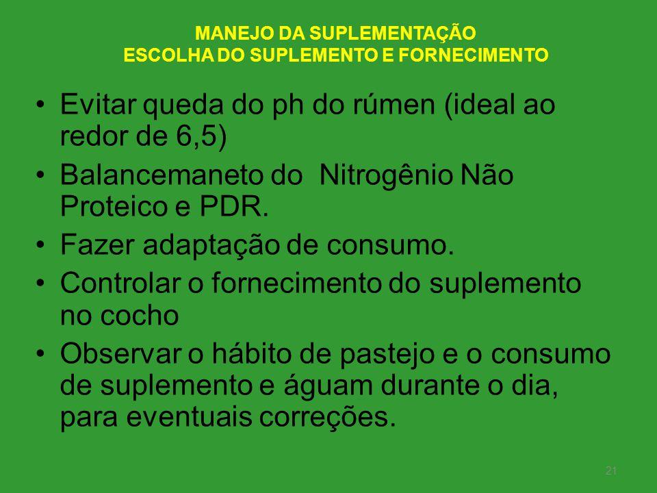MANEJO DA SUPLEMENTAÇÃO ESCOLHA DO SUPLEMENTO E FORNECIMENTO