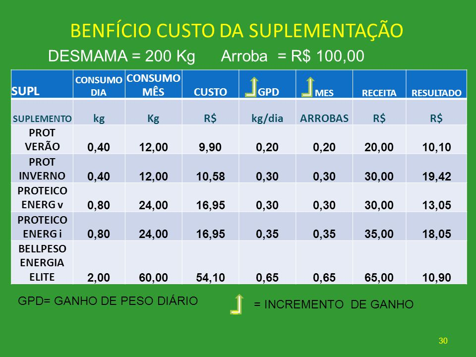 BENFÍCIO CUSTO DA SUPLEMENTAÇÃO
