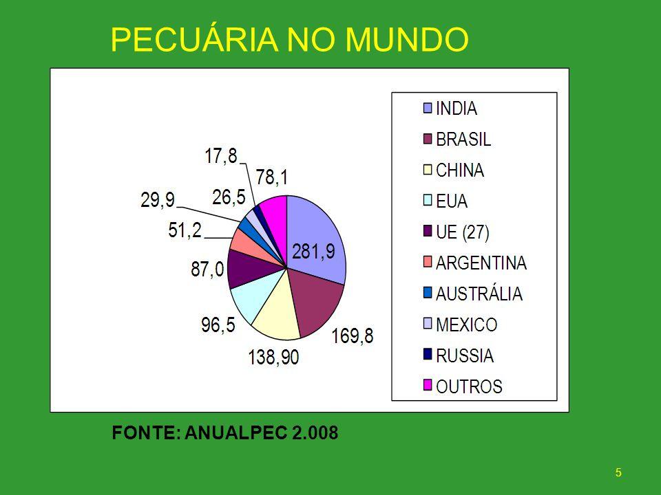 PECUÁRIA NO MUNDO FONTE: ANUALPEC 2.008