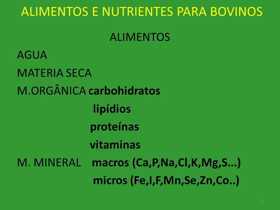 ALIMENTOS E NUTRIENTES PARA BOVINOS
