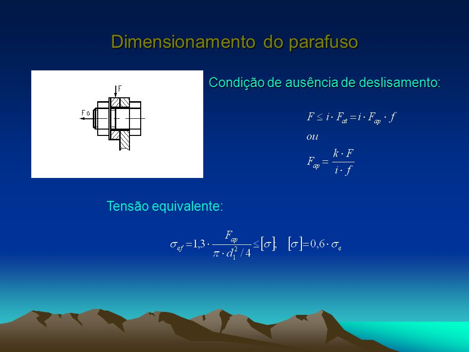 Dimensionamento do parafuso