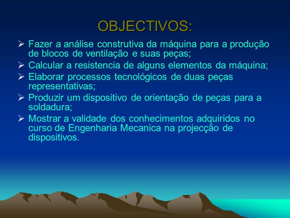 OBJECTIVOS: Fazer a análise construtiva da máquina para a produção de blocos de ventilação e suas peças;