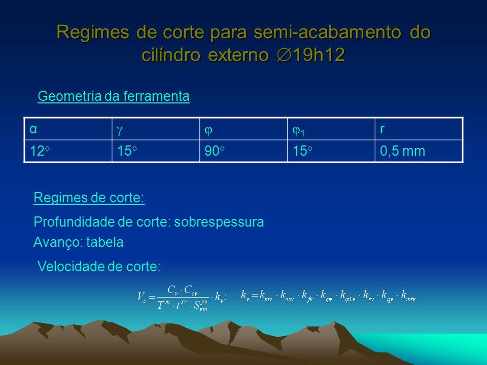 Regimes de corte para semi-acabamento do cilíndro externo 19h12