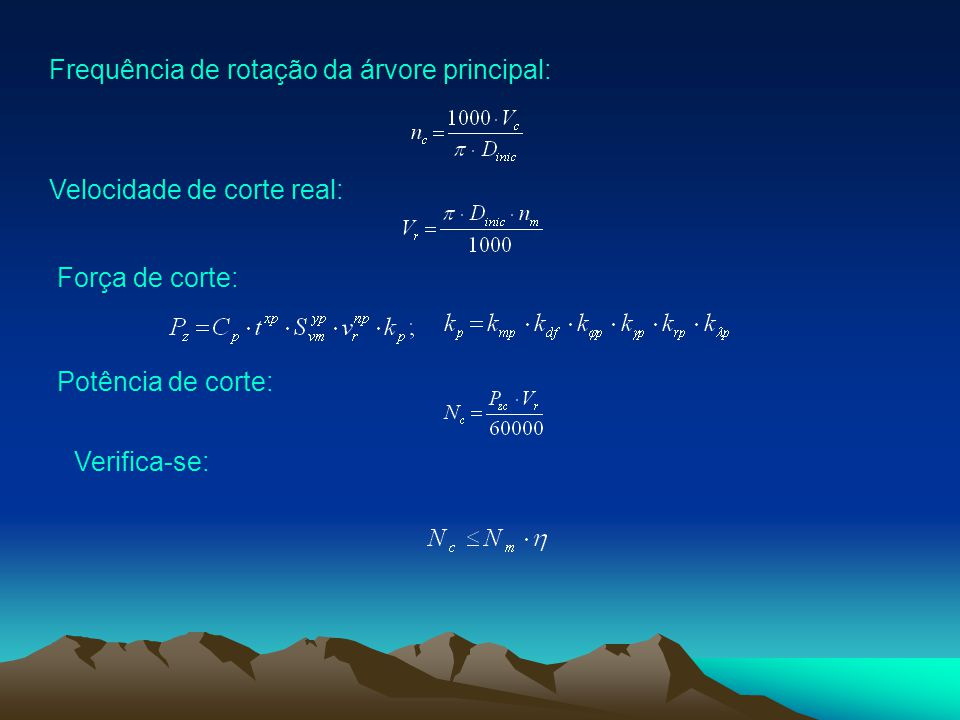 Frequência de rotação da árvore principal: