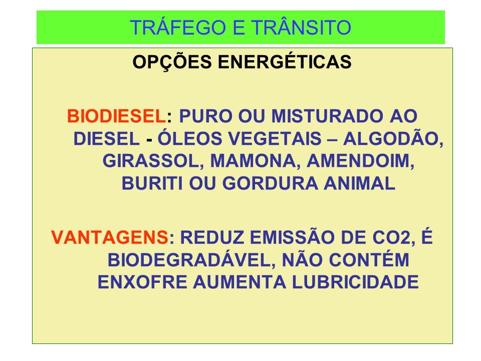 TRÁFEGO E TRÂNSITO OPÇÕES ENERGÉTICAS