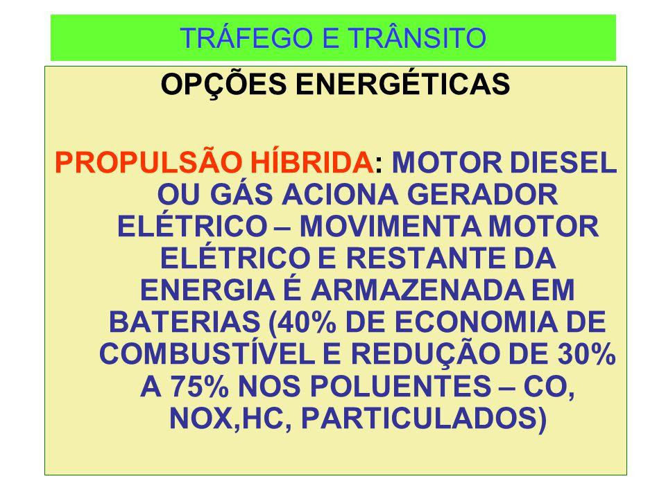 TRÁFEGO E TRÂNSITO OPÇÕES ENERGÉTICAS.