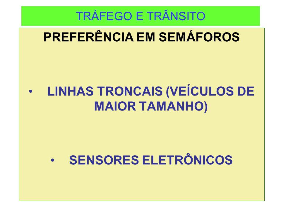 PREFERÊNCIA EM SEMÁFOROS LINHAS TRONCAIS (VEÍCULOS DE MAIOR TAMANHO)