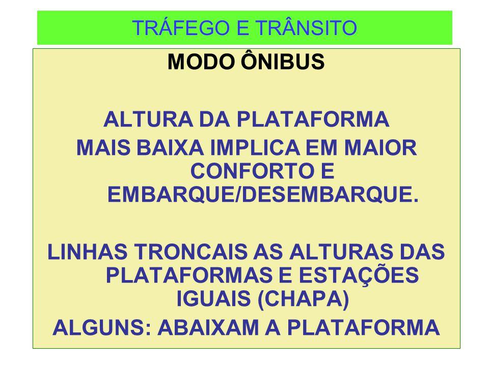 MAIS BAIXA IMPLICA EM MAIOR CONFORTO E EMBARQUE/DESEMBARQUE.