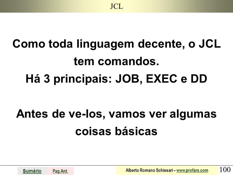 JCL Como toda linguagem decente, o JCL tem comandos.