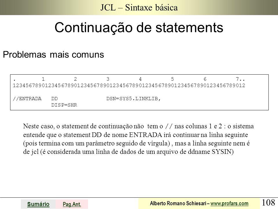 Continuação de statements
