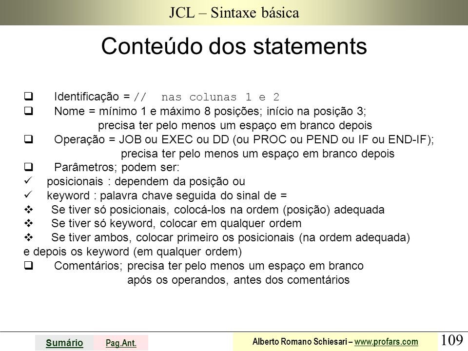Conteúdo dos statements